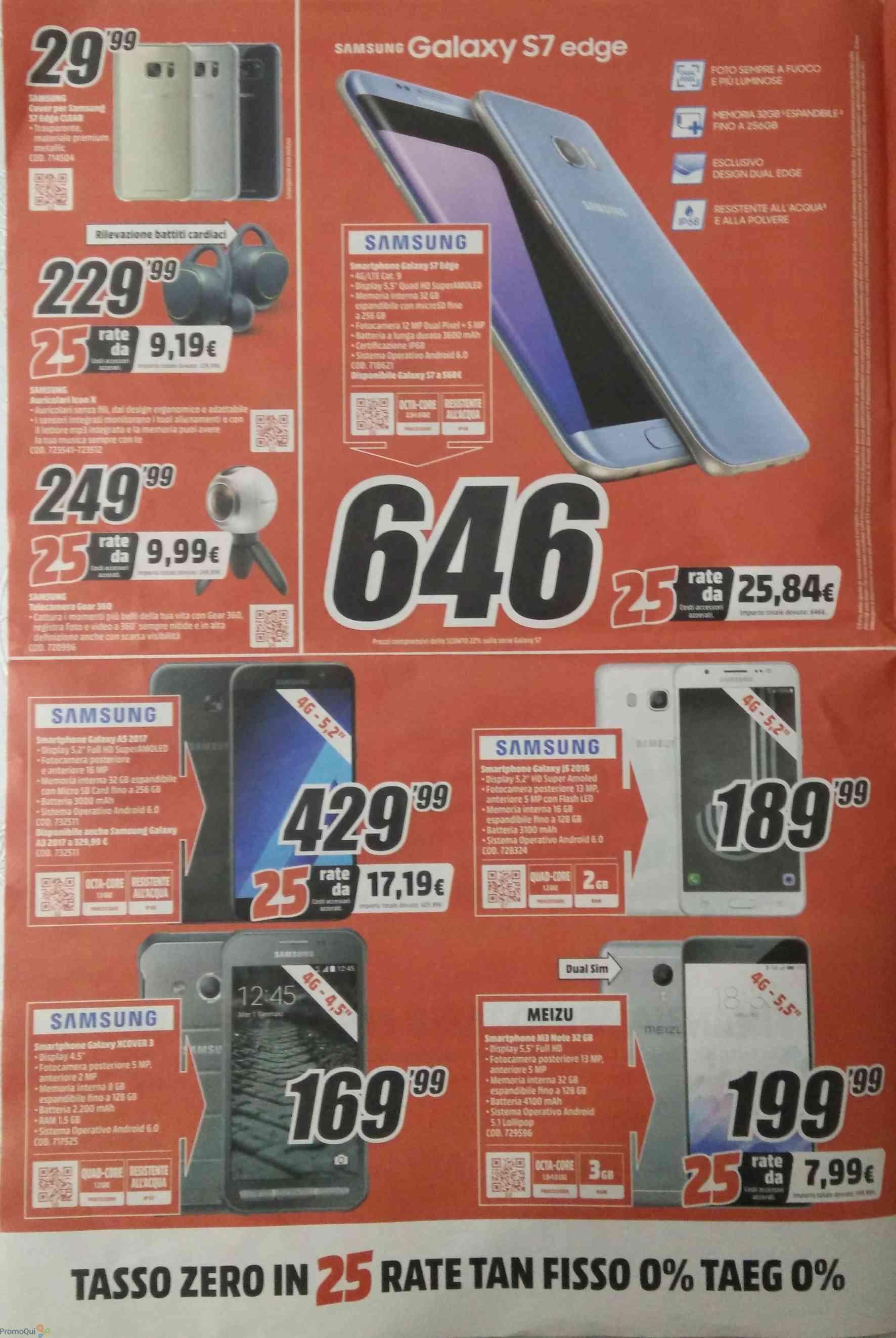 Volantino MediaWorld marzo 2017 info prezzi e sconti Samsung Galaxy, Huawei